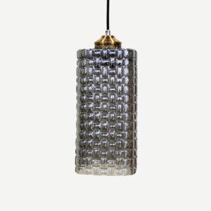 Lampadario cilindro in vetro grigio motivo intreccio