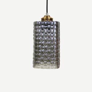 Lampadario piccolo cilindro in vetro grigio motivo intreccio