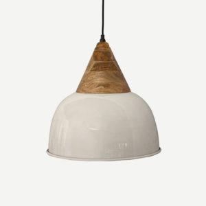 Lampadario metallo bianco con legno