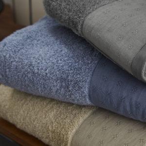 Coppia asciugamano spugna bordo lino vari colori